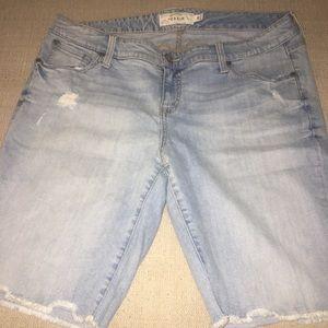 Torrid light wash Fringe Bermuda Shorts